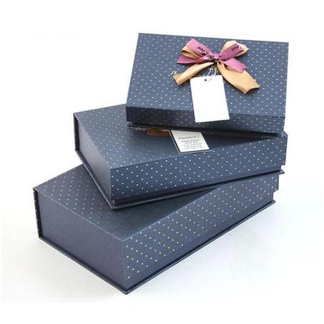 Набор коробок 3 в 1, синие с бантом