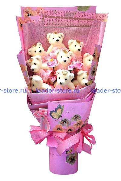 Букет из игрушек Мишки розовые