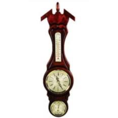 Темно-красные настенные часы с барометром