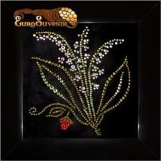 Картина Swarovski Ландыши 330 кристаллов, 12х12 см