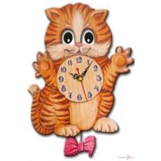 Часы настенные с маятником Котенок