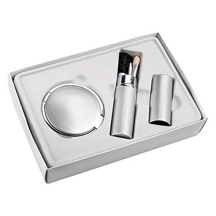 Набор «Серебристый»: зеркало, кисточки для макияжа