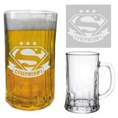 Пивная кружка с гравировкой Супермен №1