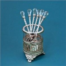 Посеребренный набор из 6ти ложек Версаче с кристаллами