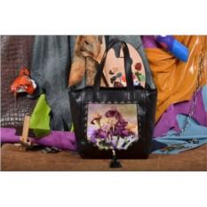 Женская сумка-шопер с принтом Фиолетовые цветы