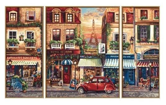 Раскраска по номерам акрилом Триптих Париж, Schipper