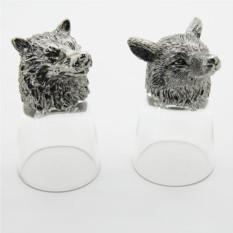 Набор рюмок-перевертышей с литыми головами Волк и лиса