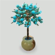Дерево смысла жизни из бирюзы в вазочке из оникса