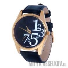 Часы Mitya Veselkov Цифры справа на черном