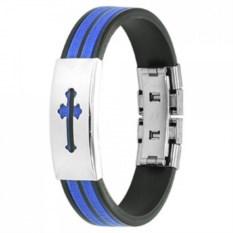 Синий с черным браслет из каучука с крестом Spikes