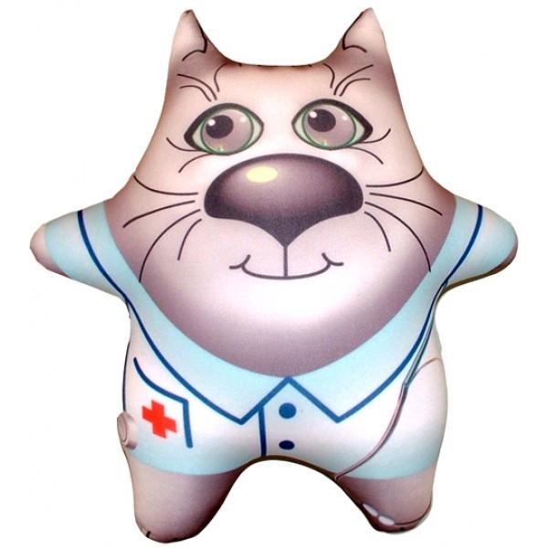 Игрушка антистресс серый  Кот Доктор (большой)