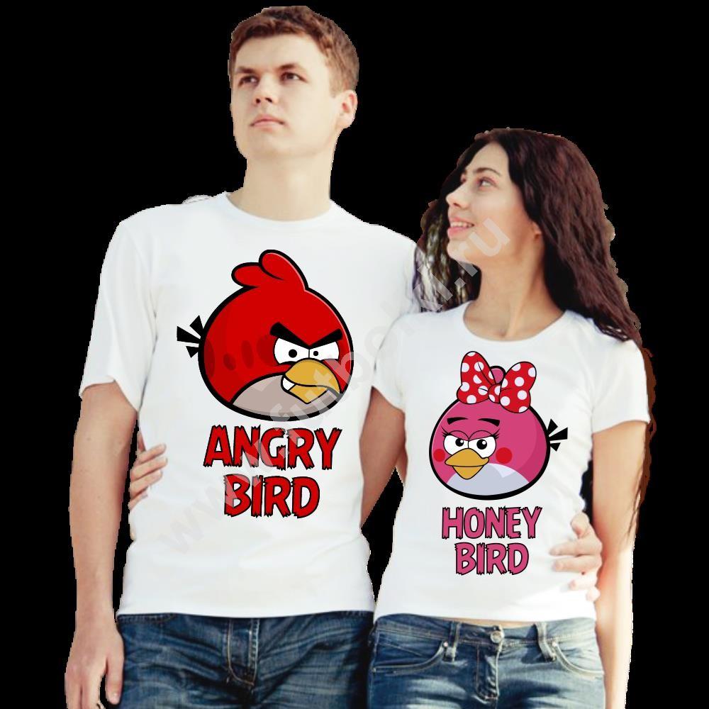 Парные футболки для двоих Angry bird, Honey bird