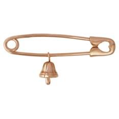 Золотая брошь в виде булавки с колокольчиком