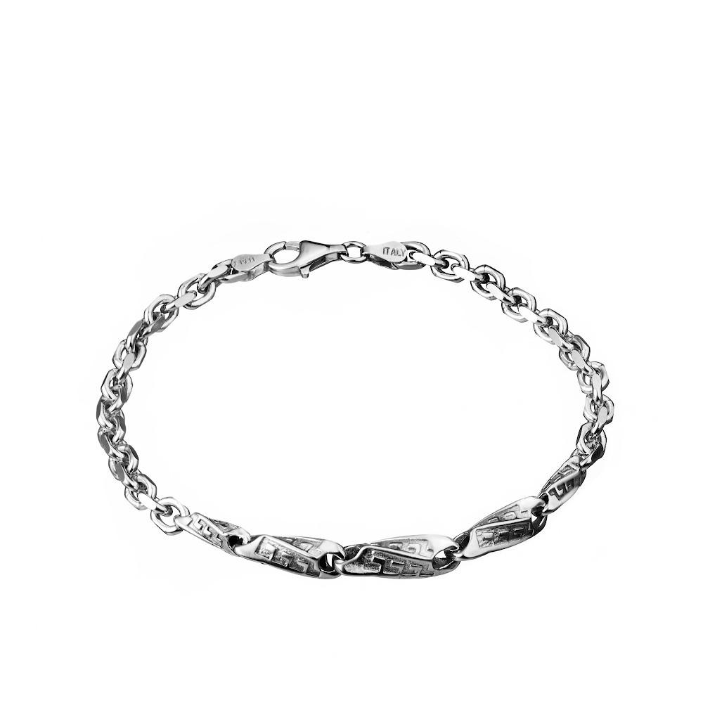 Серебряный мужской браслет, якорного плетения