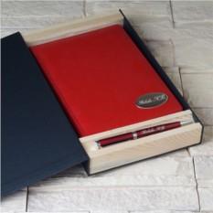Набор: ежедневник и ручка в подарочной коробке с гравировкой