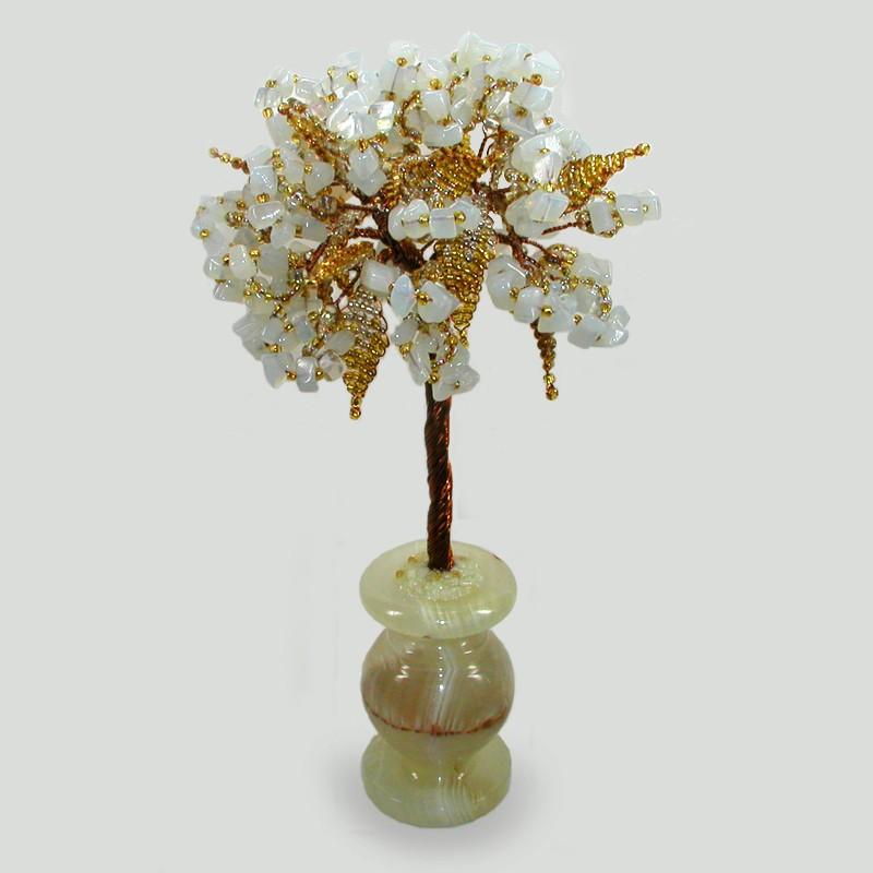 Дерево счастья из лунного камня в вазочке из оникса