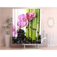 Штора для ванной Цветы и бамбук