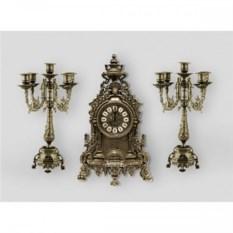Антикварные каминные часы и 2 канделябр из латуни