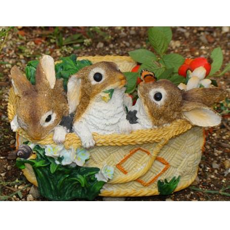 Кашпо Три зайчика в корзине