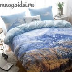 Комплект трикотажного постельного белья Горные пейзажи