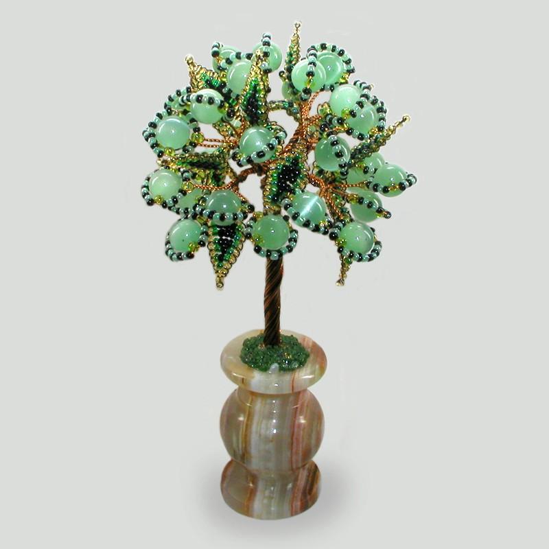 Дерево из кошачьего глаза Хранитель в вазочке из оникса