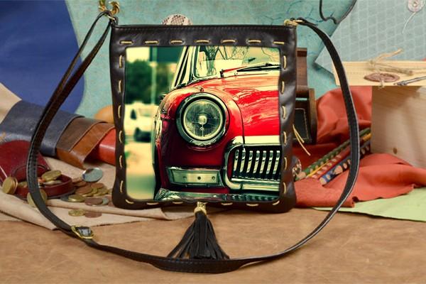 Женская сумка-планшет с принтом Ретро-машина