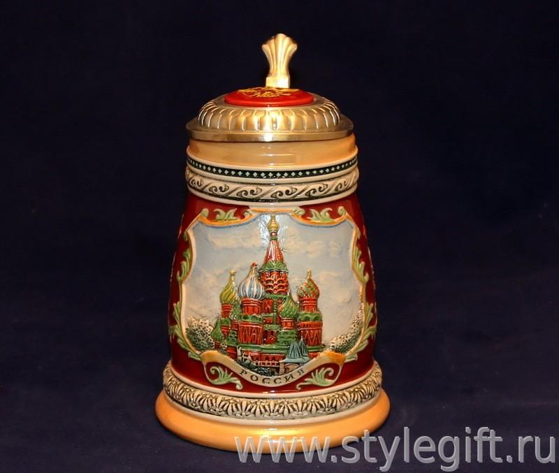 Пивная кружка с крышкой Россия. Храм Василия Блаженного