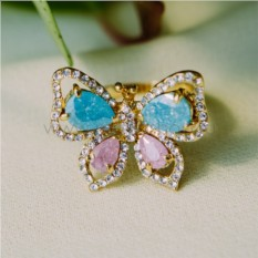 Кольцо «Бабочка» с цирконием и цветными вставками