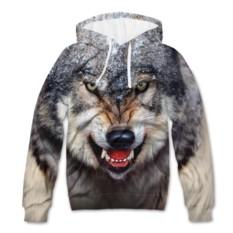 Мужская толстовка с полной запечаткой Волк