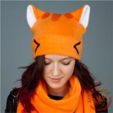 Оранжевая шапка с ушками Кавайный котик