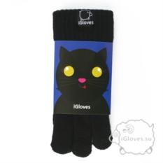 Черные полушерстяные сенсорные перчатки iGloves