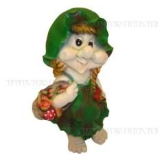 Декоративная садовая фигура Гном-девочка в листочке