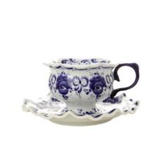 Чайная пара с художественной росписью Гжель Любимая