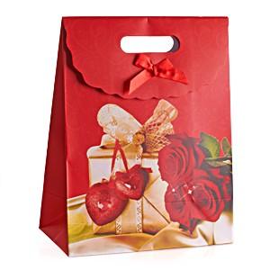 Пакет подарочный Сердца, розы