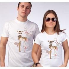 Свадебные футболки Голубки с вашей датой