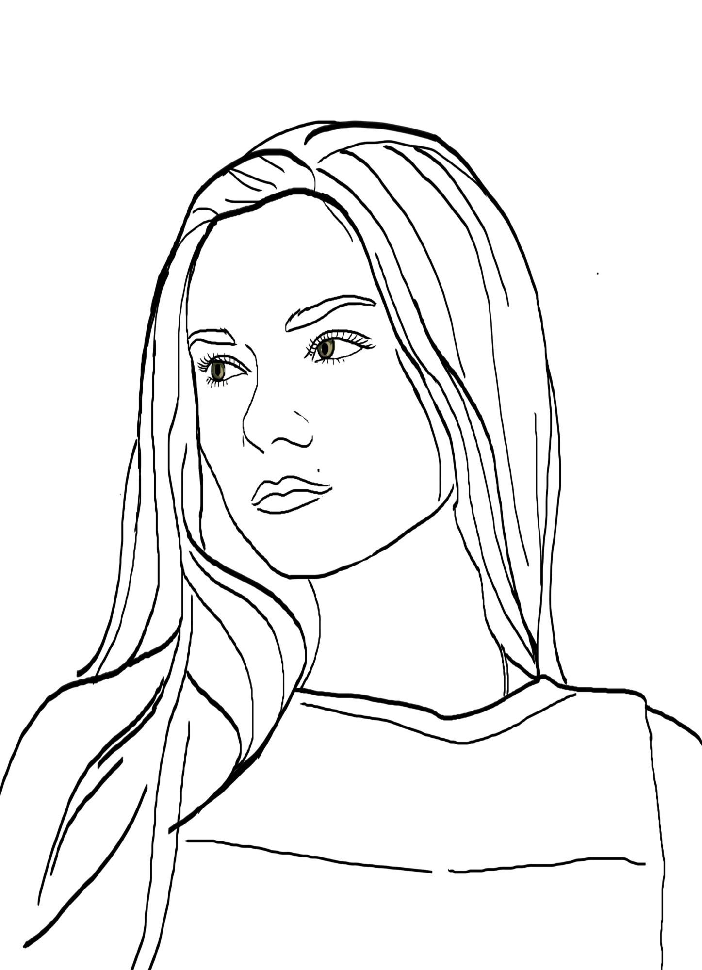 Женский контурный портрет