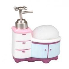 Дозатор для моющего средства с губкой (цвет — розовый)