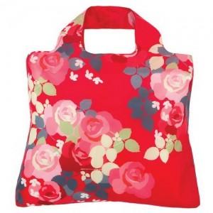 Эко-сумка Цветы красная