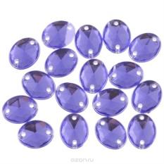 Стразы пришивные Астра, овальные, цвет: фиолетовый, 18 шт