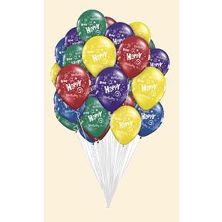 Связка из шаров с рисунком «С Днем Рождения»