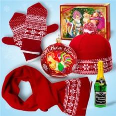 Набор «Зимние узоры» (красные шарф, шапка, варежки)