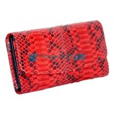 Красное женское портмоне из кожи питона