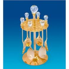 Позолоченный набор десертных ложек Swarovski на подставке