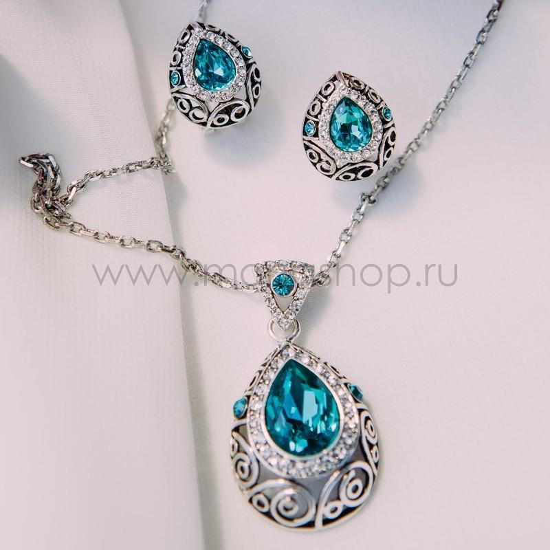 Комплект с бирюзовыми кристаллами «Восточная сказка»