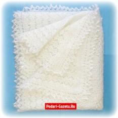 Молочный Оренбургский пуховый платок плотной вязки