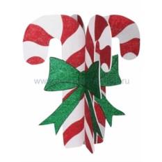 Елочная игрушка Карамельная палочка белая с красным