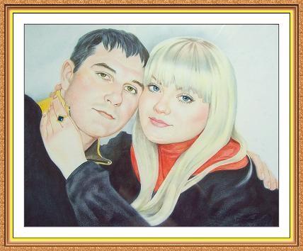 Портрет по фото на 2 человека , А3, цветной