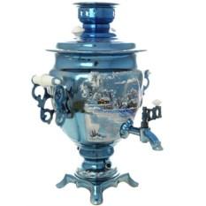 Электрический самовар 3 литра с росписью Зимний вечер