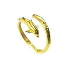 Кольцо-тотем Дельфин, позолоченное серебро