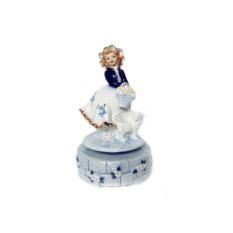 Музыкальная статуэтка Девочка с кошкой и цветами